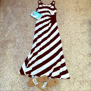 Calvin Klein striped black and white maxi dress